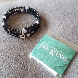 Authentic Jay King black spinel and pink kunzite